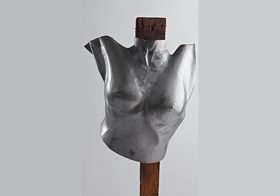 Woman body formed out of one single steel sheet. <br />Inspired by the book madonna sex.