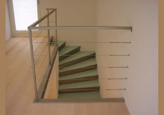 Stairs made out of chrome sheets.