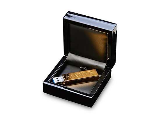Made of solid silver and gold plated with 24-carat gold.<br />                                  Weight: 46.5 g<br />                                 Engraved the name DANTE.<br />                                 Supplied with a piano black lacquered case.<br />                                 The ultra-fast USB 3.0 stick has storage space for 64 GB of data.